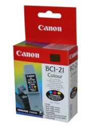 Ink.cartridge CANON BCI-21Cl, color - color, c. 150 pages with 5% sheathing, for S100, BJC2100/2200/4000/4100/4200/4300/4400/4550/ 4650/5000 /5100/5500